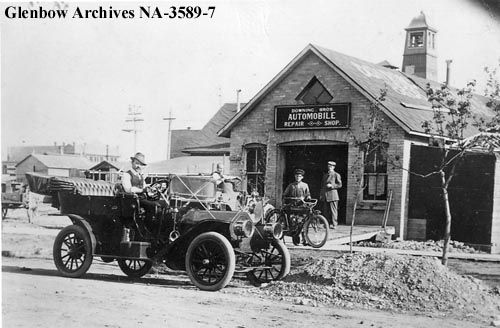 1911  Downing brothers automobile repair shop, 108 - 7th Avenue SW., Calgary, Alberta. Remarks:
