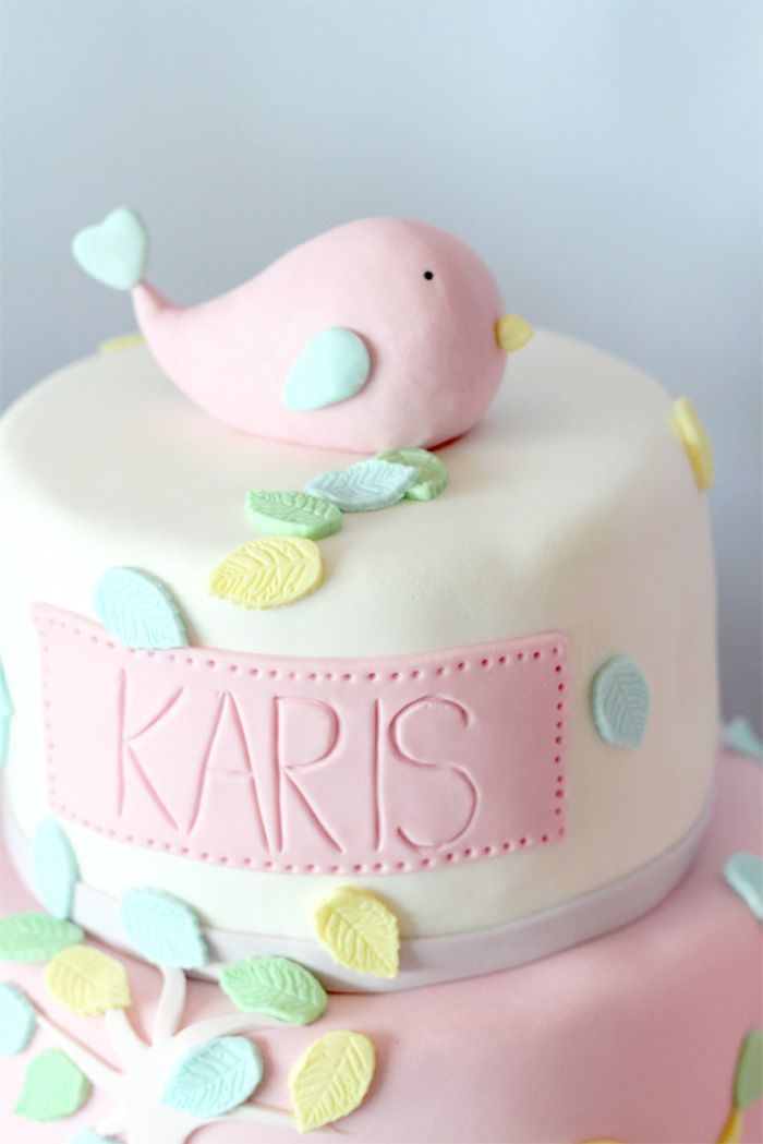 Cake With Fondant Bird : Cute baby shower cake! Fondant Bird Cake Topper via Kara s ...