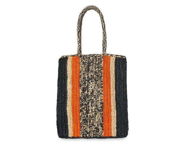 Pico Stripe Straw Shopper, in Orange/Multi on Whistles