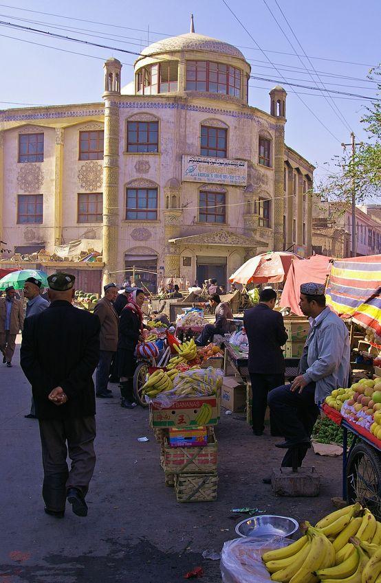 Street scene in Kashgar.