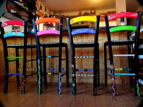 Living Color - Hand Painted Bar Stools by dannimacstudios on Etsy