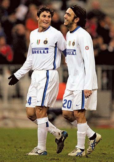 Javier Zanetti and Alvaro Recoba