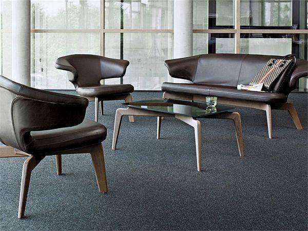 Набор, гарнитур дизайнерской мягкой мебели. Дизайнерский диван, дизайнерское кресло. Кожаная мебель. Скандинавский стиль, модерн, модернизм.