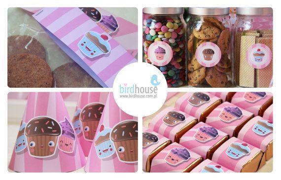 1st Birthday-Cupcake Birthday Party Set by BirdhouseStore on Etsy