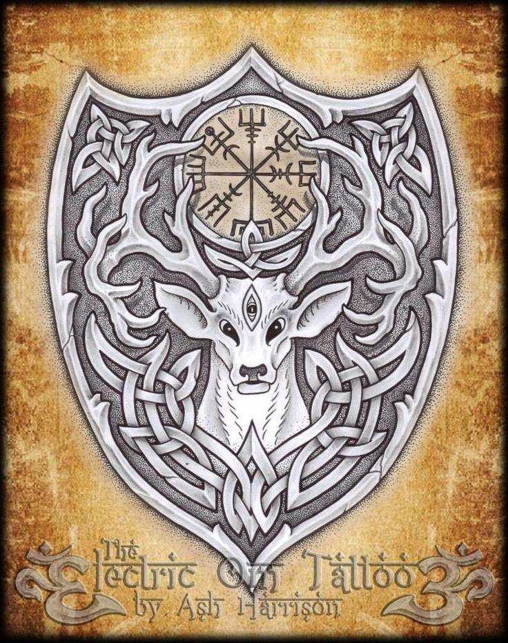 tattoos celtic norse knotwork stag spirit n vegvisir by. Black Bedroom Furniture Sets. Home Design Ideas