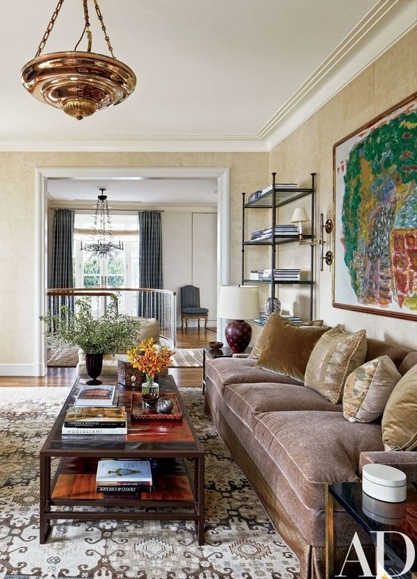 The study features a Pierre Bonnard painting, an Elizabeth Dow wall covering, and a vintage carpet from Doris Leslie Blau | archdigest.com