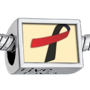 """Pugster Words """"live Love Laugh"""" Black Red Ribbon Awareness Photo Beads European Beads Fits Pandora Charm Bracelet Pugster. $12.49. Bracelet sold separately. Fit Pandora, Biagi, and Chamilia Charm Bead Bracelets. Hole size is approximately 4.8 to 5mm. Unthreaded European story bracelet design. It's the photo on the heart charm"""