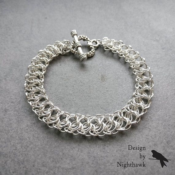 Silver-Plated Lace-Like Chainmaille Bracelet Heart-shaped Toggle Clasp