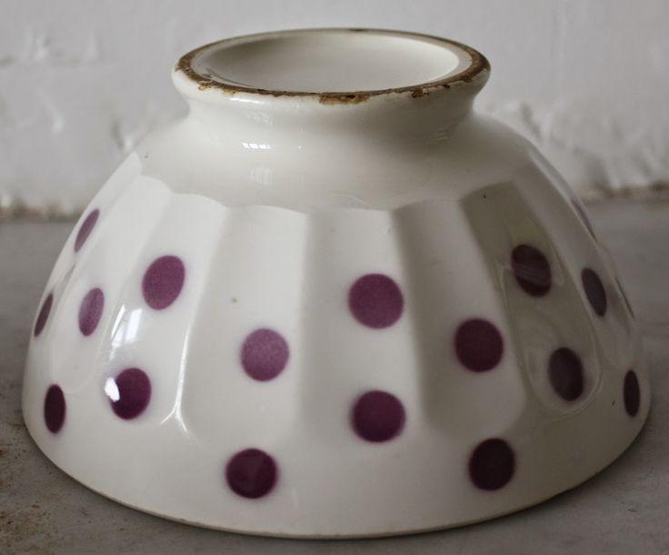vintage French cafe au lait purple bowl