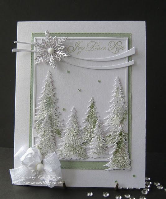 """pamscrafts: Joy.. Peace.. Love.. used Memory box. Cascade Evergreen Frame with Evergreen Trio die. The trees have a mix off """"Stampendous"""" on them.. Chunky White embossing Enamel.. Stardust Transparent.. stash embossing green powder. All sprinkled on these Trees and heated from underneath with a heat tool.. used versemark clear ink and Stardust Transparent powder, give a gentle sparkle."""