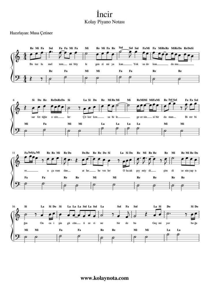 Incir Kolay Piyano Notasi Kolaynota Com Nota Arsivi Pi Yano Notalara Dokulmus Muzik Muzik Notalari