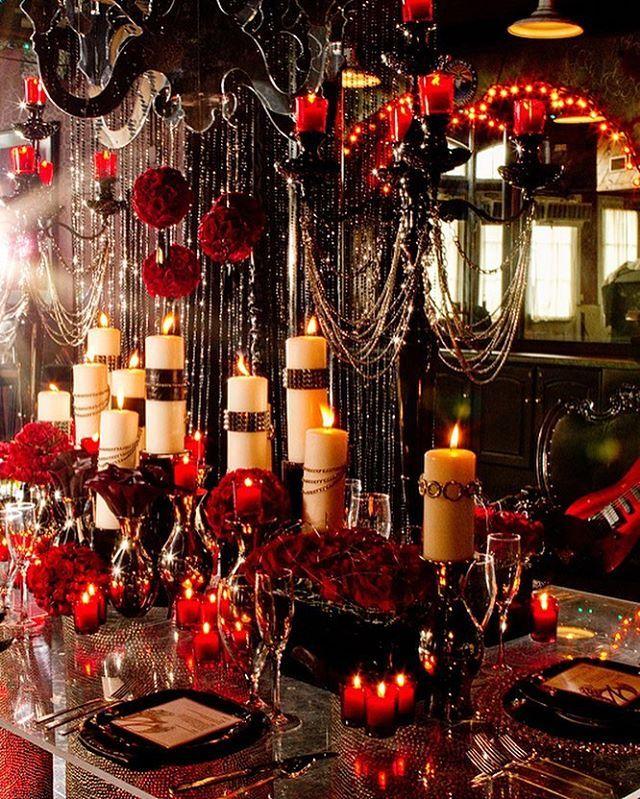 Red Wedding Ideas On A Budget: Dark, Dramatic And Elegant Gothic Wedding Reception Idea