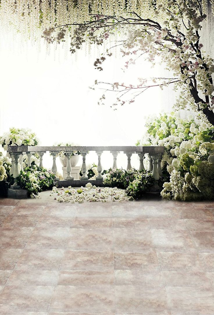 Amazon.com : 5x7ft Digital Photography Backdrops Brick Floor White Flowers  Background Natural Scenery For