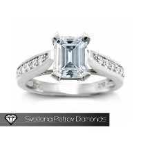Anillo De Compromiso Con Diamante Corte Esmeralda 1,00 Cts,