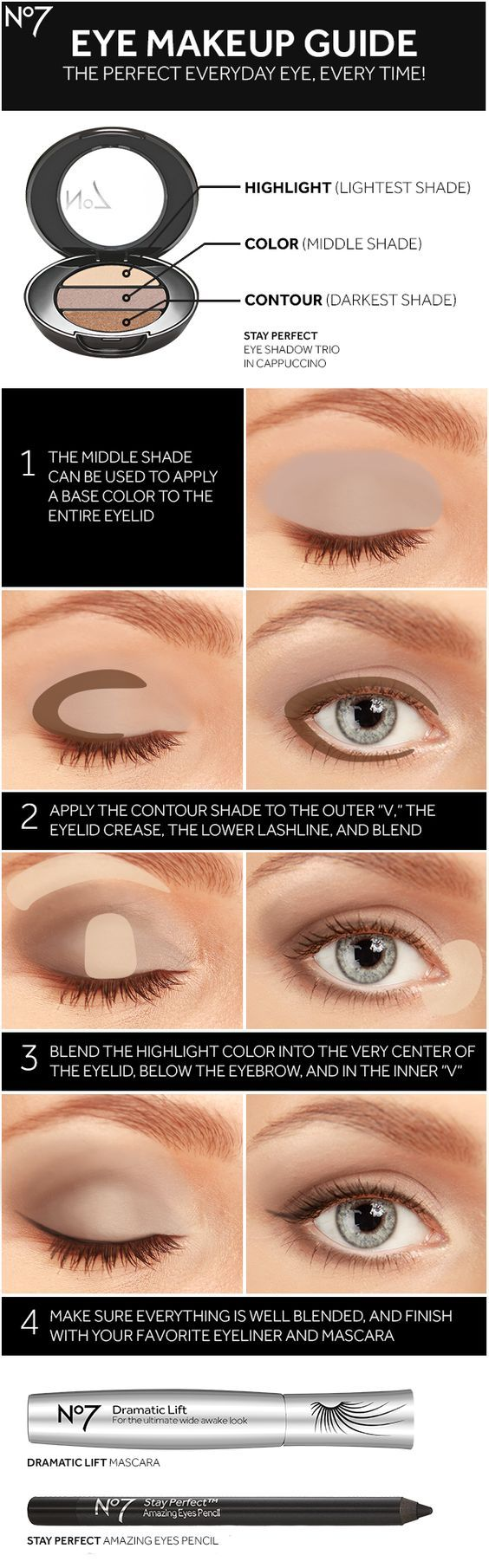 Sharpen your eye makeup skills with No7 eye shadow, mascara, eyeliner and this how-to guide for a brighter, bigger look.: