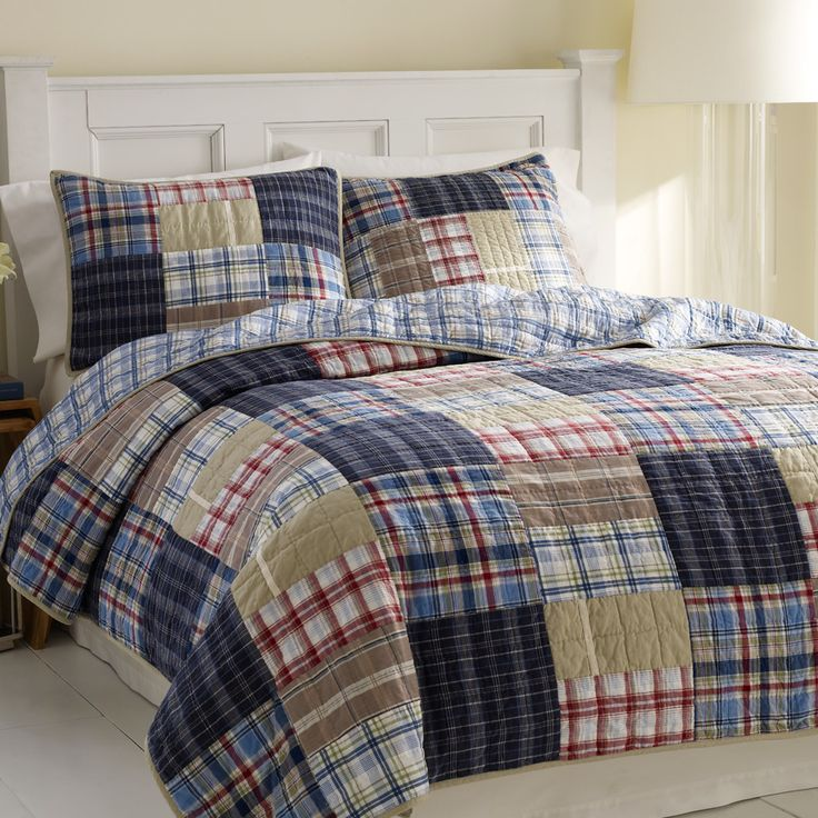 the nautica chatham quilt bedding set is a colorful quilted patchwork plaid sure to cozy up any bedroom this quilt set has a - Plaid Comforter