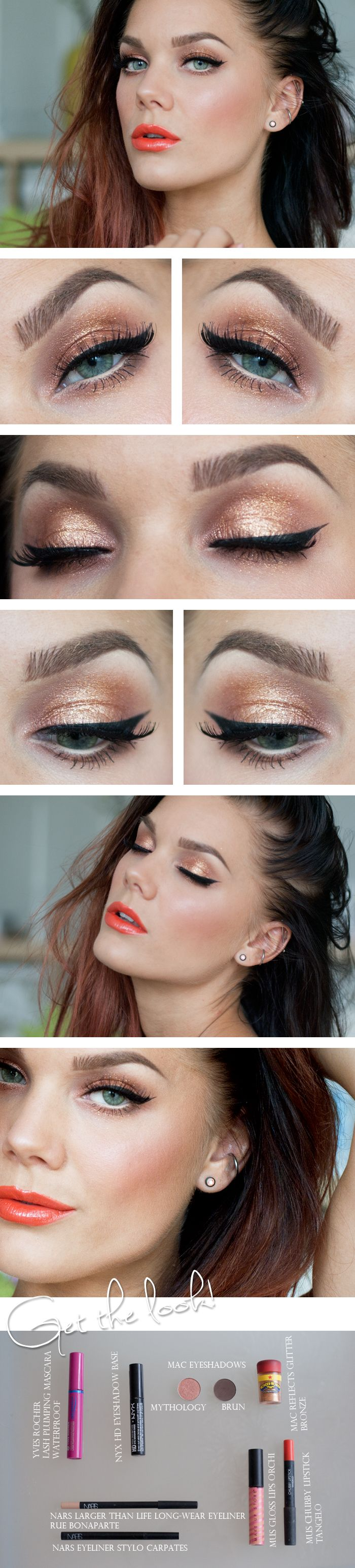 "Today's Look : ""Tangelo"" -Linda Hallberg (a gorgeous orange look from eyes to cheeks to lips! This is a beautiful summer look!)07/30/13"