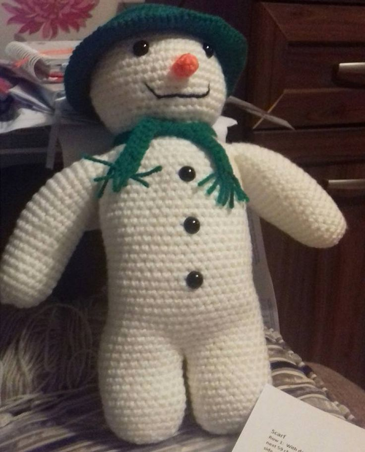 Snowman soft toy. Finished product.