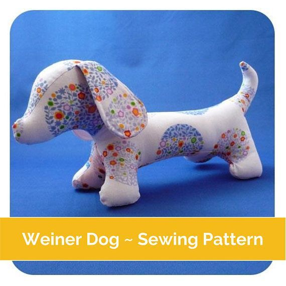 As featured in Sew Hip! Magazine. Make your own cute dachshund with this Weiner dog sewing pattern. Easy to follow illustrated instructions and the pattern is included. The finished dog is approx 32cm / 12.5 from nose to tail and 17cm/ 7 tall making him the perfect size for using up all those