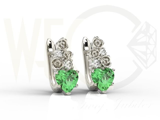 Kolczyki z białego złota z zielonymi topazami i diamentami/ Earringd made from white gold with green topazes and diamonds/ 2 425 PLN #jewellery #earrings #love #heart
