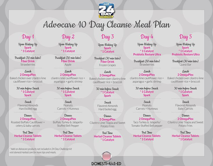 AdvoCare 10 Day Cleanse Phase Meal Plan | ADVOCARE ...