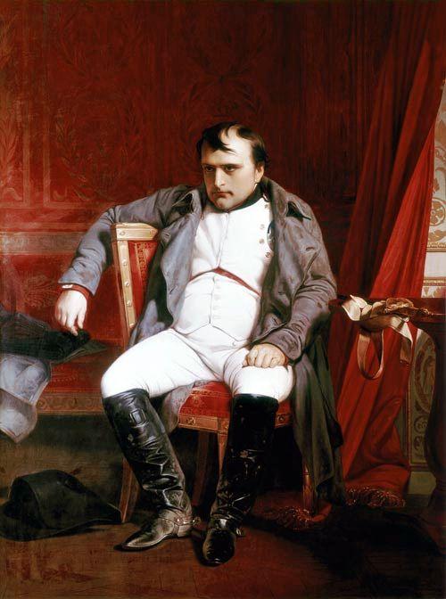 "* Napoleão Bonaparte *  ""Abdicando em Fontainebleau"".    (by Paul Delaroche)."