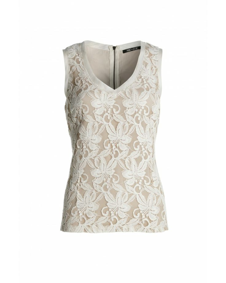 Get a vintage effect with this slim, seamed v neck top, overlaid in intricate floral lace.