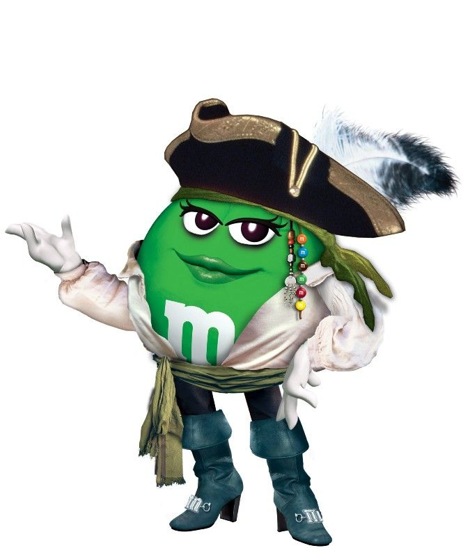 Here's a green M&M dressed as a pirate. You can thank me later.