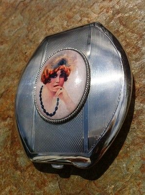 Solid Silver Enamel Art Deco Feather Lady Mirror Compact Turner Simpson 1937 | eBay