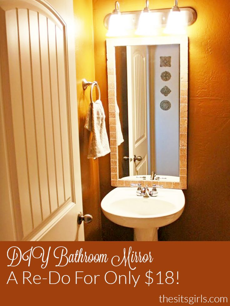 Redo your bathroom mirror with this diy bathroom mirror project. It is quick…