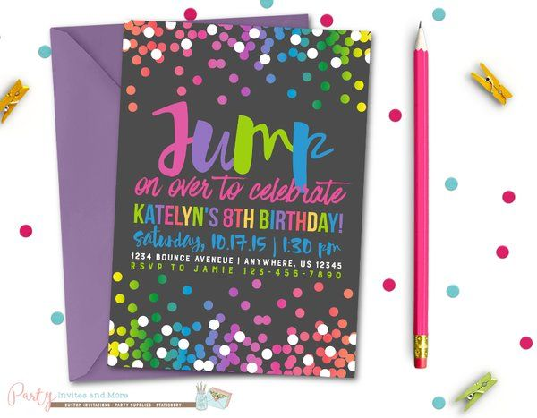 Jump Birthday Invitation, Bounce Birthday Invitation, Bounce House, Jump…