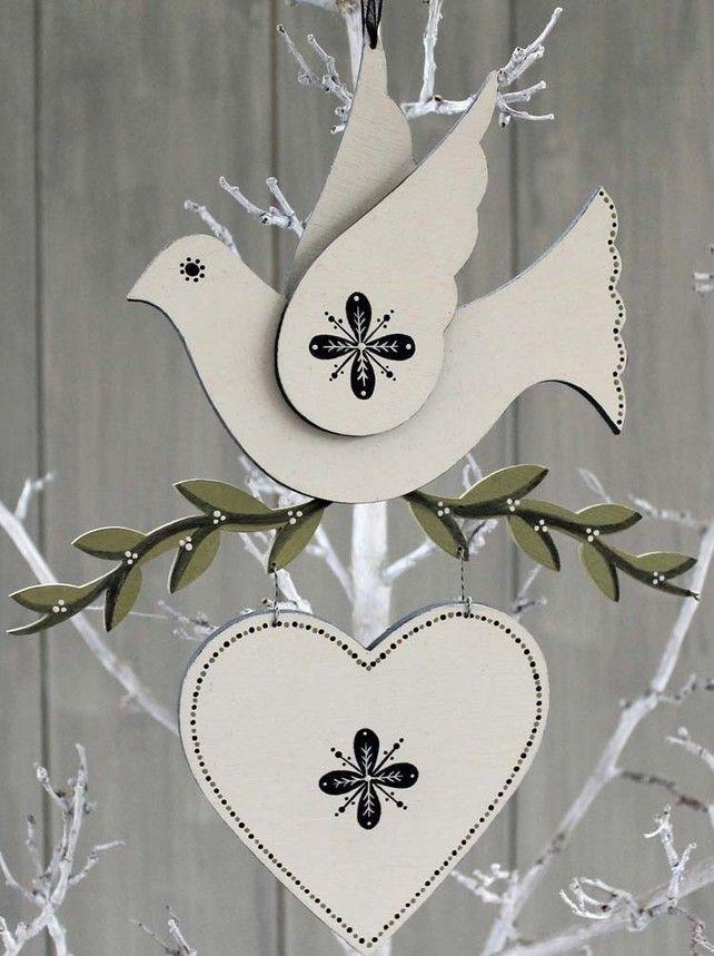 Wooden Winter Dove