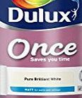 Dulux Once Matt Paint for Walls, 5 L - Pure Brilliant White Dulux Once Matt has been specifically formulated to give you the perfect finish in just one coat. Its concentrated formulation means you only need one coat to get the qua (Barcode EAN = 5010212577233) http://www.comparestoreprices.co.uk/december-2016-week-1/dulux-once-matt-paint-for-walls-5-l--pure-brilliant-white.asp