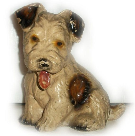 Antique CHALKWARE DOG DOORSTOP - Jack Russell Terrier Puppy - 32 Best Dogs-Vintage Hubley Images On Pinterest Irons, Figurines