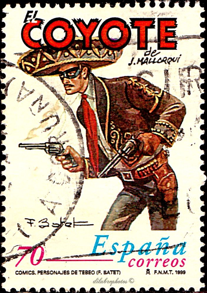 Spain.  COMIC STRIPS.  EL COYOTE BY JOSE MALLORQUI FIGUEROLA.  Scott  2999 A987 Issued 1999 June 11, Photo., Perf. 13 3/4,  70. /ldb.