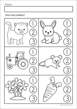 MEGA Math & Literacy Worksheets & Activities - Down on the Farm. 100 Pages in total!! A page from the unit: How many syllables?