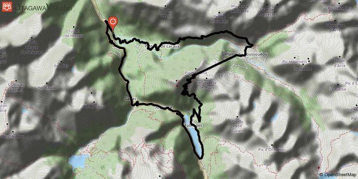 [Pyrénées-Atlantiques] Sousouéou-Station d'Artouste-lac de Fabreges Départ depuis la piste qui rejoint le pont du Goua, on fera du vtt sur cette piste jusqu'au départ du GR10.  Long long et dur portage jusqu'à la cabane de Cézy (ou on ne passera pas)  Continuer sur le GR et prendre une piste visible et marquée qui descend dans la plaine du Sousouéou.  Remonter par les pistes de ski de la station d'Artouste jusqu'au col de la Sagette.  Enorme descente sur piste ou hors piste jusqu'au lac de…