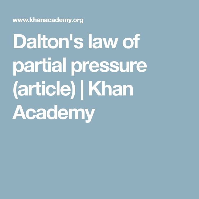 Dalton's law of partial pressure (article) | Khan Academy