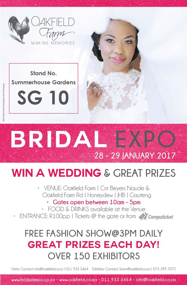 With over 150 Wedding Specialists to choose from, a spectacular FREE FASHION SHOW @ 3pm, GREAT Food, Live entertainment & OVER R150 000 in Prizes to be WON at the Fashion Show each day, this bridal event is guaranteed to leave you feeling inspired & ready to plan your PERFECT day! http://bit.ly/2egMtBD