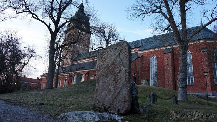 Viking runestone and a church in Strängnäs, Sweden #talesofsheaves
