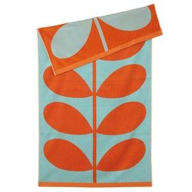 Stem Jacquard Beach Towel Aqua  Clementine