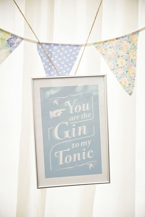 You are the gin to my tonic, from 'Lyn Ashworth Lace And Sparkly Gold Shoes for a Pretty Cornfower Blue DIY Summer Wedding', on www.lovemydress.net.  Photography by http://www.gemmawilliamsphotography.co.uk/