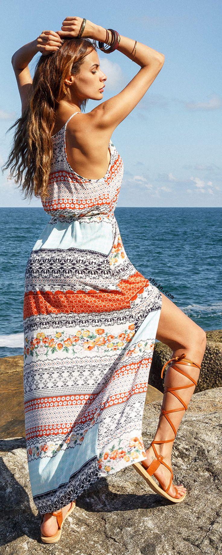 Multicolor Vintage Print Split Maxi Dress
