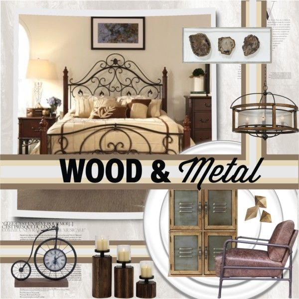 Wood & Metal by katjuncica on Polyvore featuring interior, interiors, interior design, home, home decor, interior decorating, Tribecca Home, Palecek, CB2 and Balenciaga