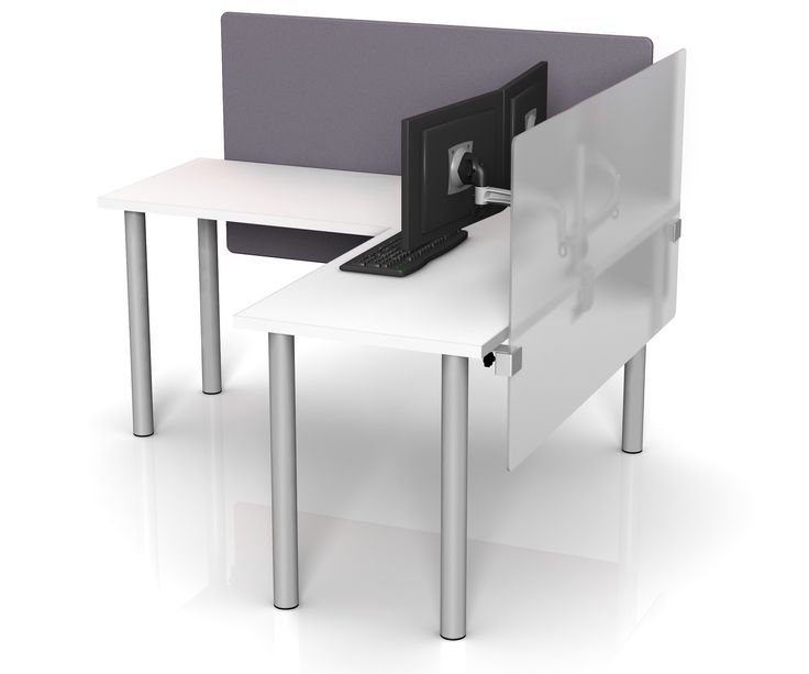Height Adjustable Desk Dividers In Fabric And Frosted