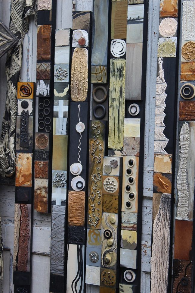 """""""Soul Totems"""" Wood strips in any length by 3 inches wide. Glazed tin tile blocks, found objects, textured paint, hand mixed pigments. Find me on Etsy. Buy One or a set of any number, color."""
