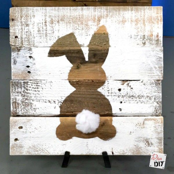 Rustic reclaimed wood signs are all the rage! Using pallet wood makes these signs a cheap and easy DIY to add to your Easter Decorations. Easter Bunny Sign!