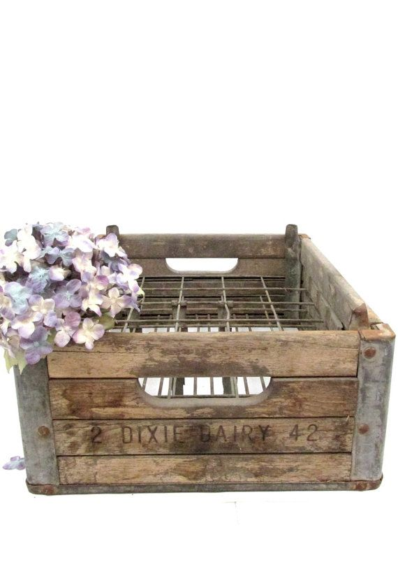 Dixie dairy wood milk crate morehead city nc antique for Decorating with milk crates