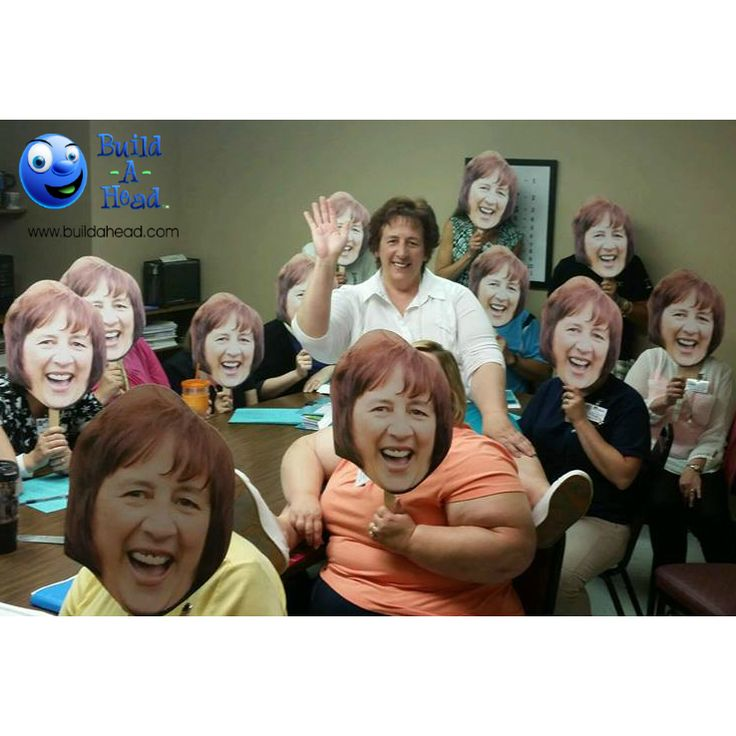 Awesome idea for surprise birthday party! Order your custom face cutouts at www.buildahead.com!