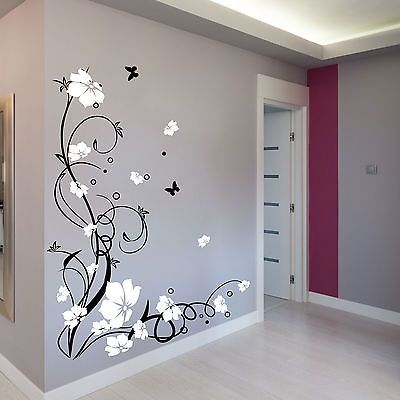 Wall Design Decals quotes Details About Large Butterfly Vine Flower Wall Stickers Wall Decals